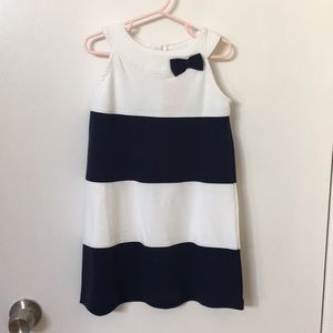 Gymboree white and navy bow dress